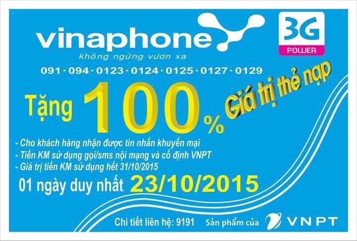 Vinaphone khuyen mai tang 100 the nap 23-10-2015