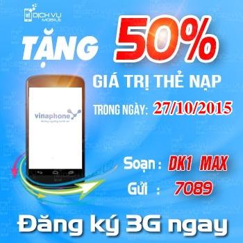 Vinaphone khuyen mai tang 50 the nap ngay vang 27-10-2015