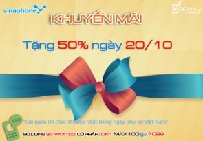 khuyen mai vinaphone tang 50 the nap ngay vang 20-10-2015