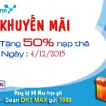 Khuyến mãi nạp thẻ Vinaphone tặng 50% ngày vàng 4/12/2015