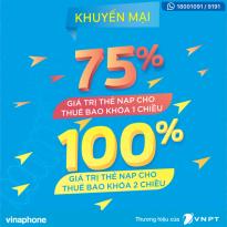 Vinaphone khuyến mãi thẻ nạp cho thuê bao theo đối tượng