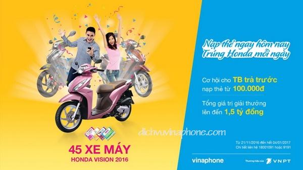 Chương trình khuyến mãi Nạp thẻ ngay - trúng Honda mỗi ngày từ Vinaphone