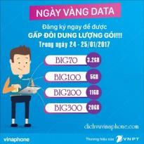 Vinaphone khuyến mãi ngày Vàng Data 24 - 25/01/2017