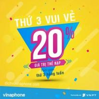 Khuyến mãi Vinaphone tặng 20% thẻ nạp ngày thứ 3 vui vẻ 6/3/2018