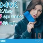 Đăng ký gói VD40K Vinaphone nhận ưu đãi thoại và 30GB