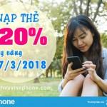 Vinaphone khuyến mãi 20% thẻ nạp ngày vàng 27/3/2018 trên toàn quốc