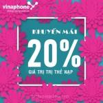 Vinaphone khuyến mãi 20% thẻ nạp ngày vàng 30/8/2019