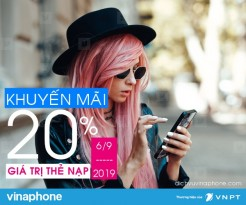 Vinaphone khuyến mãi 20% giá trị thẻ nạp duy nhất ngày 6/9/2019