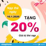 Vinaphone khuyến mãi tặng 20% thẻ nạp ngày 10/1/2020 trên toàn quốc