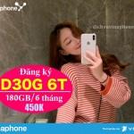Hướng dẫn đăng ký gói D30G chu kỳ 6 tháng của Vinaphone nhận ưu đãi đến 180GB