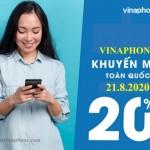 Vinaphone khuyến mãi 20% thẻ nạp ngày 21/8/2020