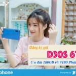 Đăng ký gói cước D30S 6T VinaPhone ưu đãi 180GB và 9180 Phút gọi