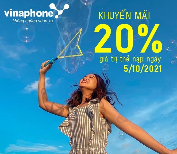 Vinaphone khuyến mãi thẻ nạp tặng 20% thẻ nạp duy nhất 5/10/2021
